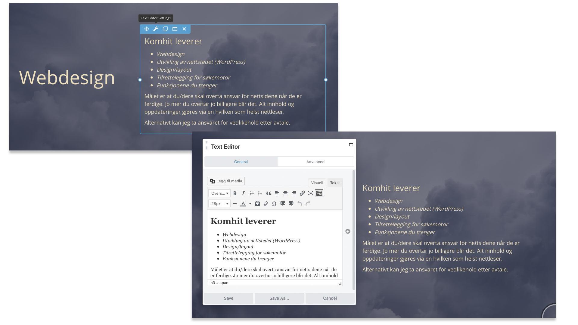 Illustrerer hvordan bruker kan skrive innhold på siden og se hvordan det blir live. Dette er med Beaver Builder.