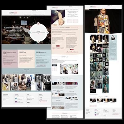 Faksemile av nettsiden ESMOD laget og tilpasset responsivt webdesign
