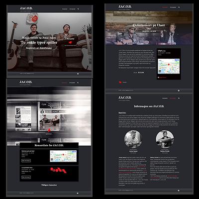 Faksemile av nettsiden J.A.C.O.B laget tilpasset responsivt webdesign