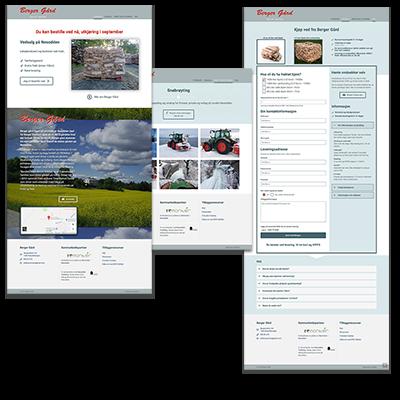 Faksemile av nettsiden Berger Gård laget tilpasset responsivt webdesign